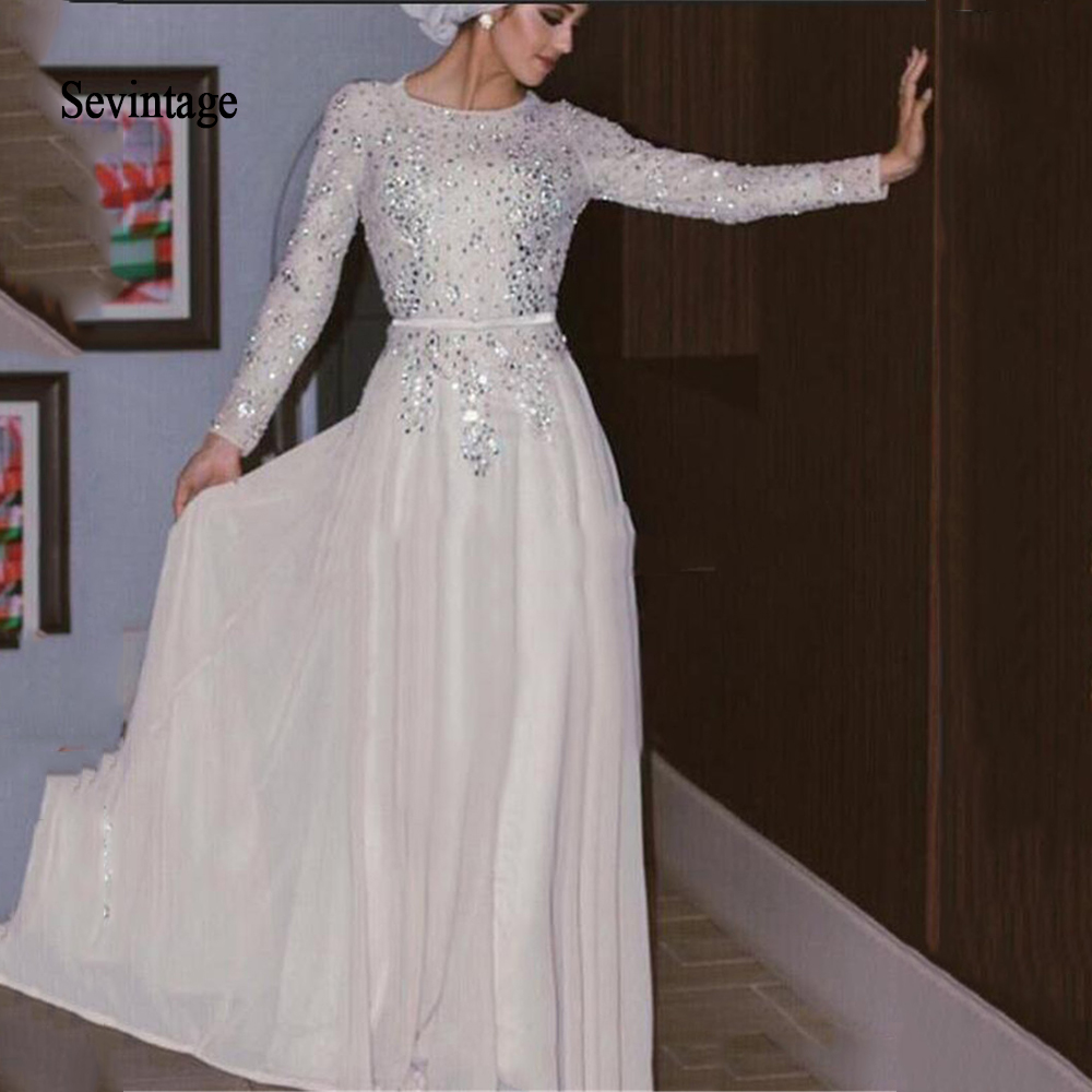 Sevintage Modest Arabic Dubai Muslim Prom Dresses Sequined Chiffon Vestido De Festa Long Sleeve Formal Evening Party Gowns