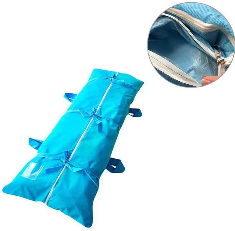 Leak Proof Portable Shroud Body Bag 3-layers Non-woven Fabric Disposable Funeral Supplies Zipper Shroud Body Bag Blue