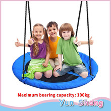 Outdoor Garden Swing Chair Seat Swing Giant Padded Fabric Crows Nest Rope Swing Kids Hanging Seat Toys Height Adjustable Ropes(China)