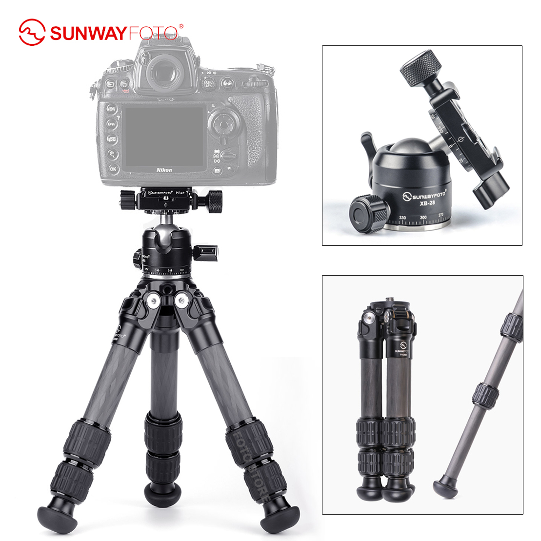 SUNWAYFOTO T1C30N Carbon Fiber Tripod Stand Extensionable Tripod Camera Stand with XB-28 II Quick release Panoramic ball head