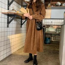 Chic student loose corduroy long sleeve dress
