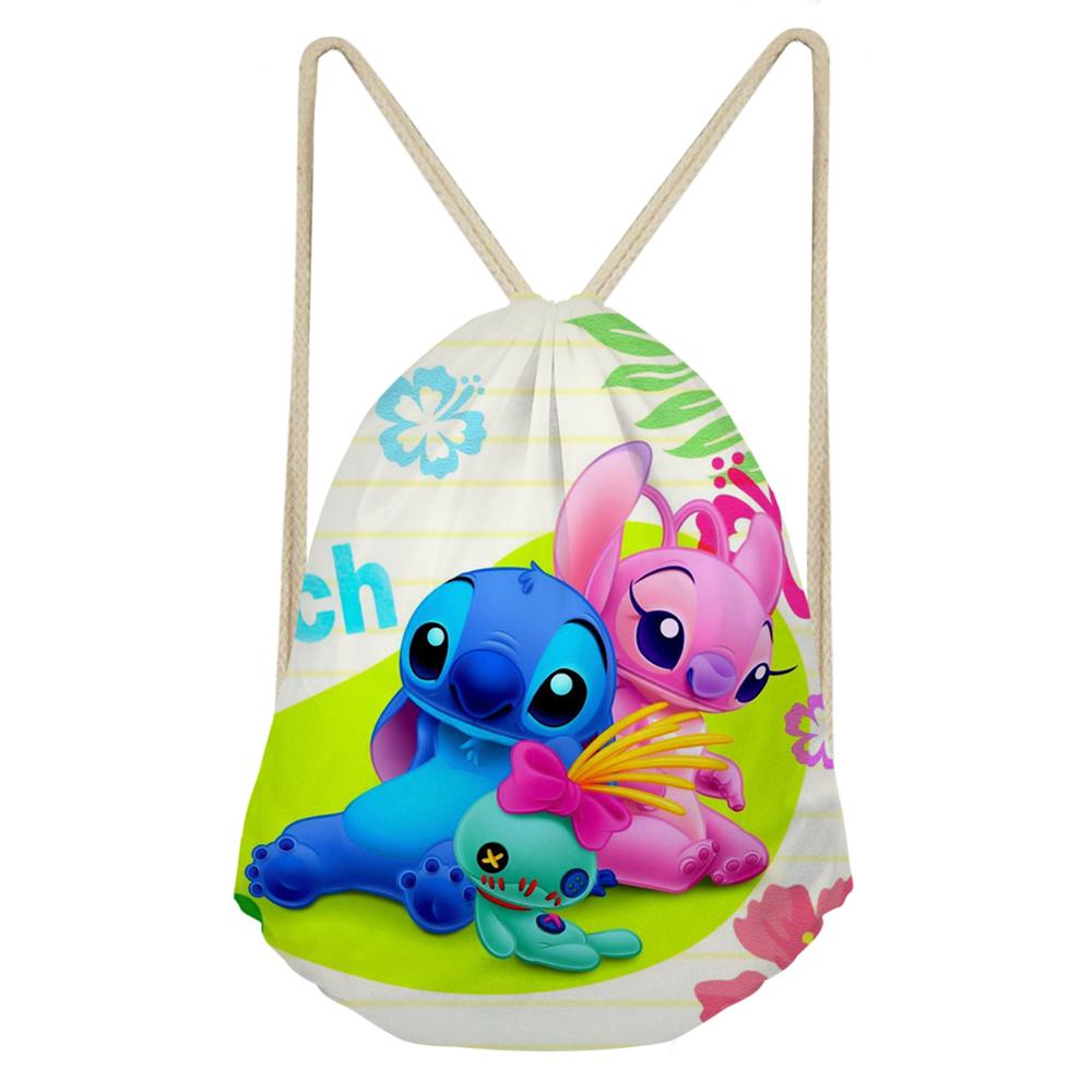 Custom Anime Cartoon Cart Lilo Stitch Print Drawstring Bag Women Strap Package Bags Backpack Sack Beach Travel Storage Shoe Bag
