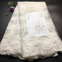 Off White African Lace Fabrics 2019 High Quality Lace Nigerian Tulle Lace Fabric Bride Milk Silk French Net Lace Fabric M3341(China)