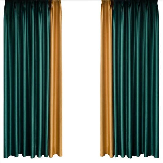 Cortinas de terciopelo de grado superior para el dormitorio, cortinas de ventanas para niños, cortinas modernas para la sala de estar, cortinas verdes azules grises