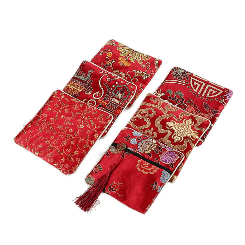 1 adet klasik çin nakış küçük kese takı çantası depolama organizatör sıcak satış çanta hediye el yapımı nakışlar kulaklık çantası