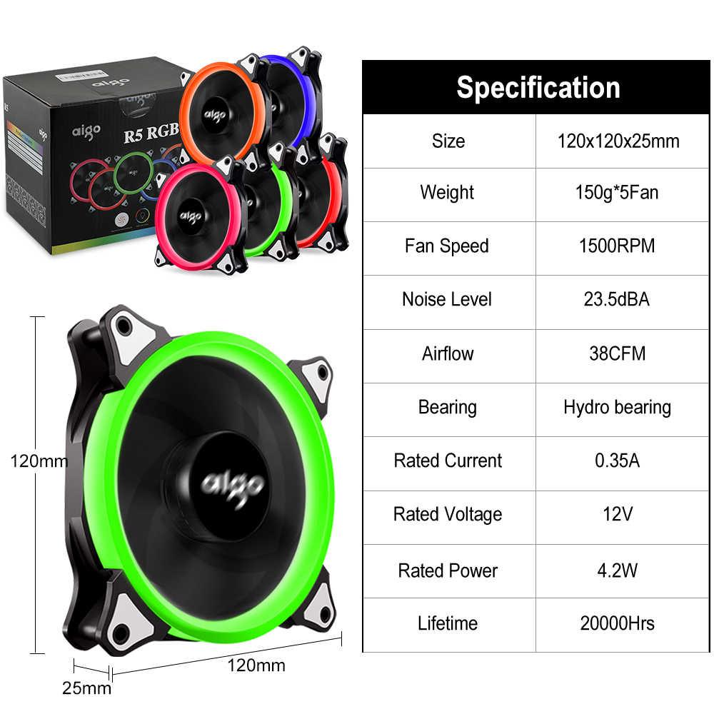 Aigo ใหม่กรณีคอมพิวเตอร์ PC พัดลมระบายความร้อน 120 มม.RGB Light ปรับ LED พัดลมเงียบ + IR REMOTE คอมพิวเตอร์ CPU cooler Cooling พัดลม RGB