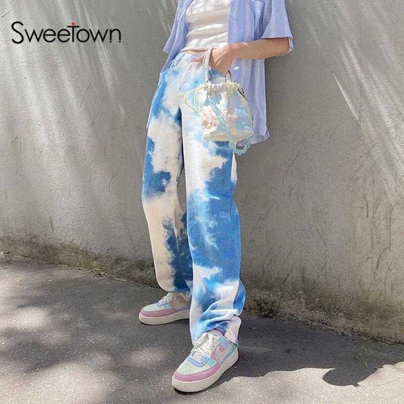 Y2K Tie Dye Streetwear Cargo Pants Women Preppy Style High Waist  Streetwear Pants  Elastic Waist Pants  Linen Pants  Jogger Pants