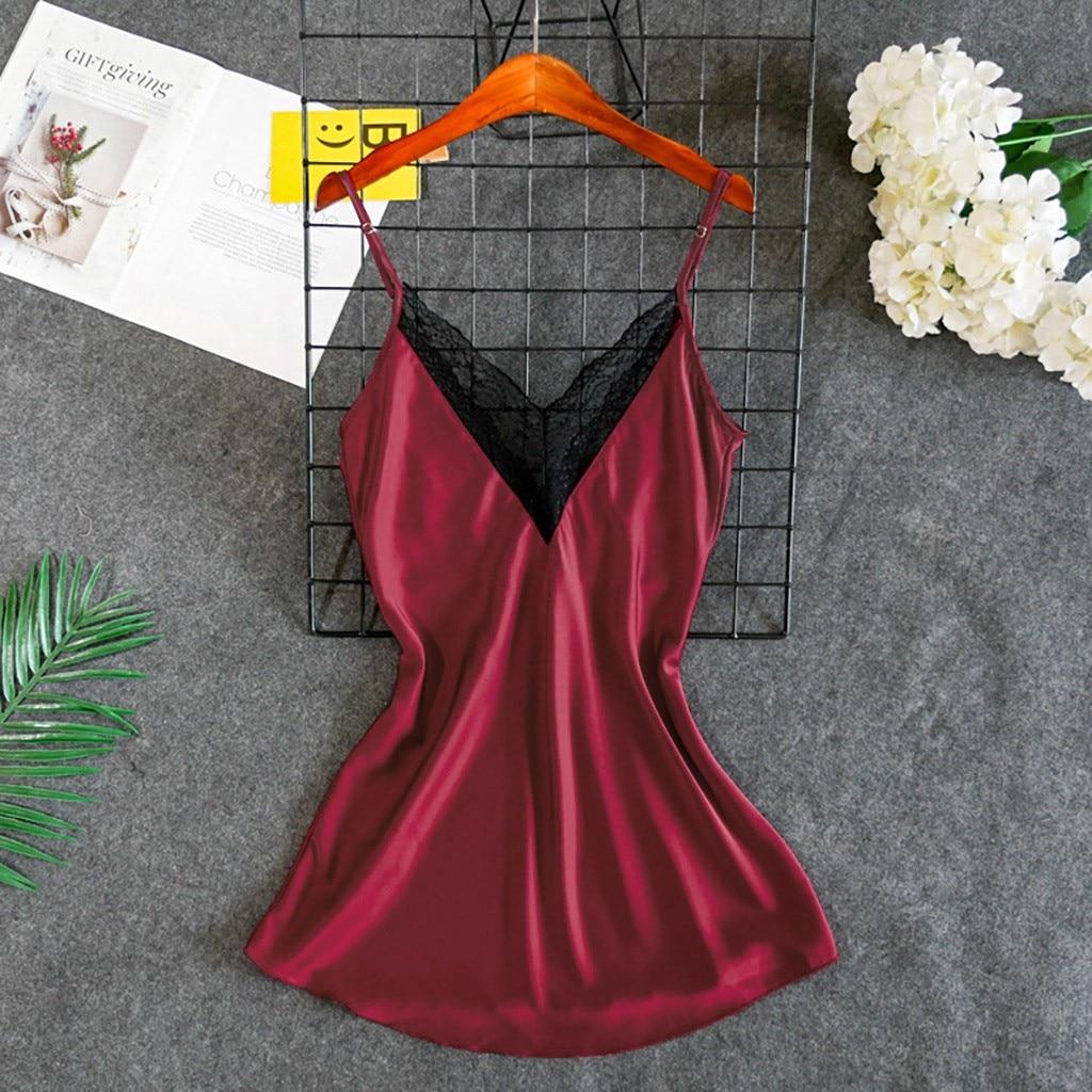 Women Lace Sexy Sleepwear Nightwear Plus Size Women's Nightgown Slips Satin Sexy Nightdress Lingerie Lady's Summer Sex Nightie
