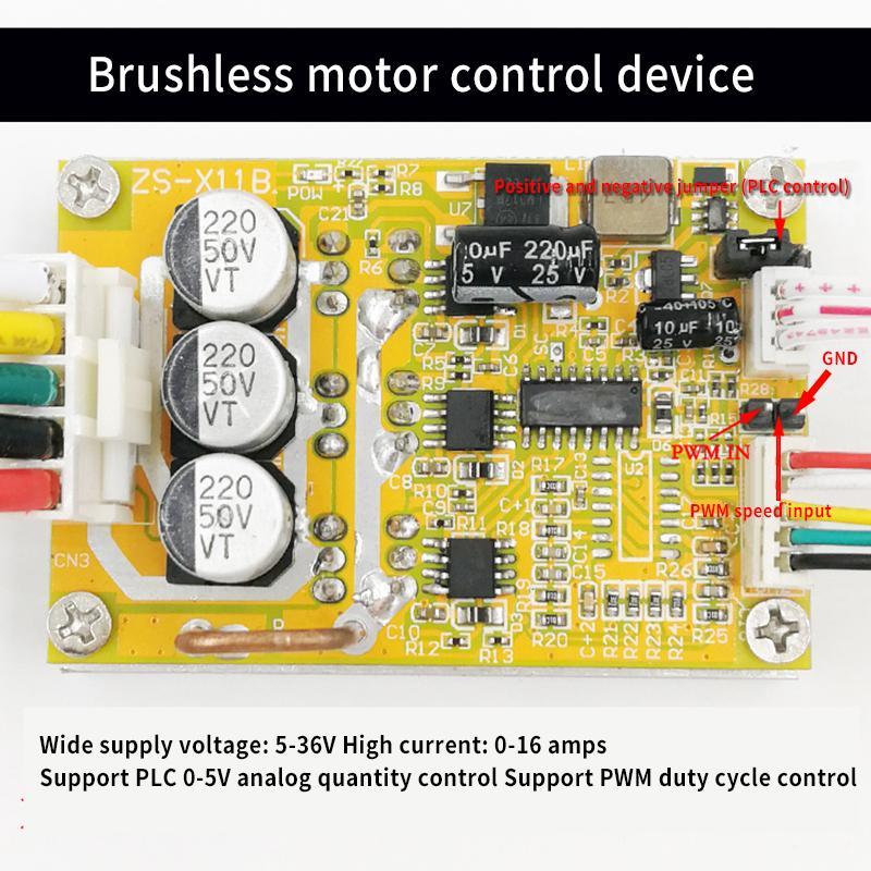 350W BLDC three-phase DC brushless Hall motor controller brushless motor driver board high power PLC 5-36V