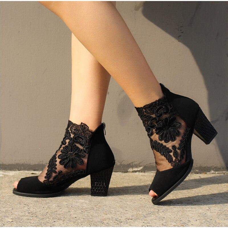 Women Summer Mesh Peep Toe Sandals Sexy Heels Single Shoes Lace Pumps Woman High Heel Fashion Platform Female Shoes Ladies 2020