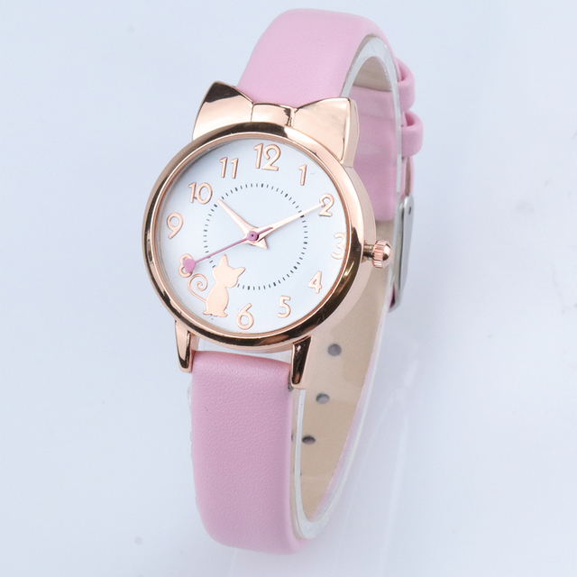 Children Watch Casual Girl Kids Cute Leather Strap Cat Watches Waterproof Lovely Kid Quartz Student Wristwatch High Quality