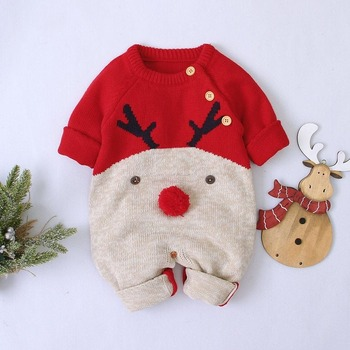 Baby Christmas Rompers reindeer Boys Girls Knitted Infantil Jumpers Toddler New Year's Costume Children Overalls Clothes 0-2 christmas reindeer knitted newborn baby boys girls romper jumpsuit winter kids costume long sleeve pajamas overalls for children