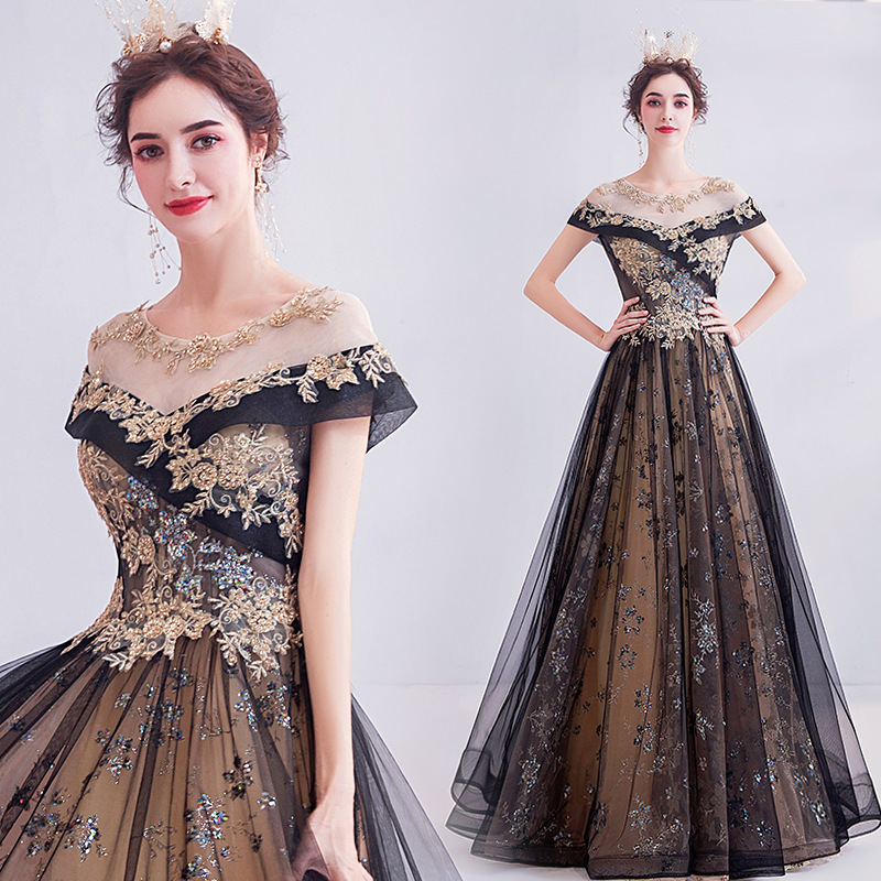 The Same Star In The 2020 Summer British Style Women's Printed Flower Mid-waist Long Evening Dress Formal Dresses Evening Gown
