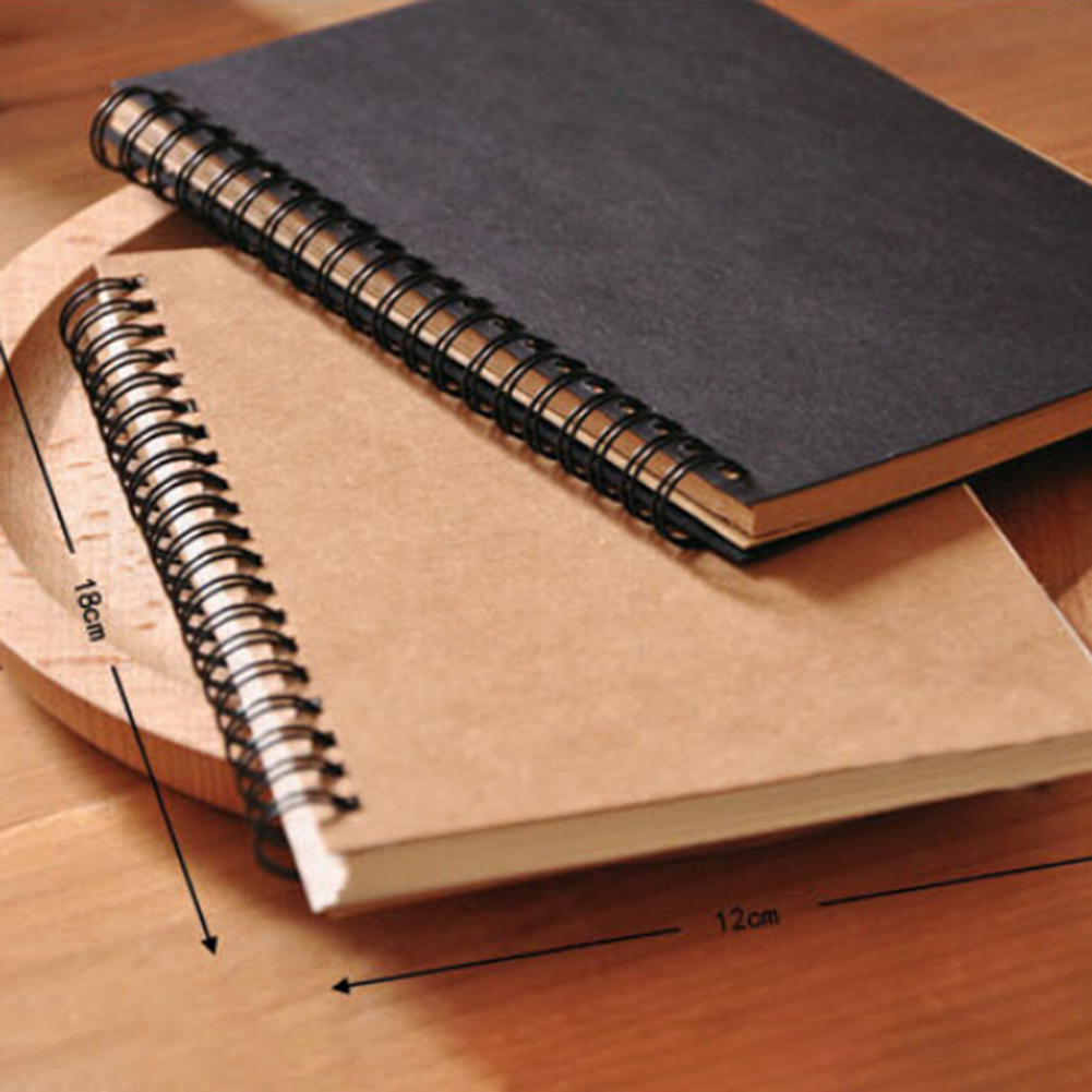 Retro DIY Stationery Spiral Bound Coil Sketch Book Blank Paper Art Graffiti Notebook Stationery
