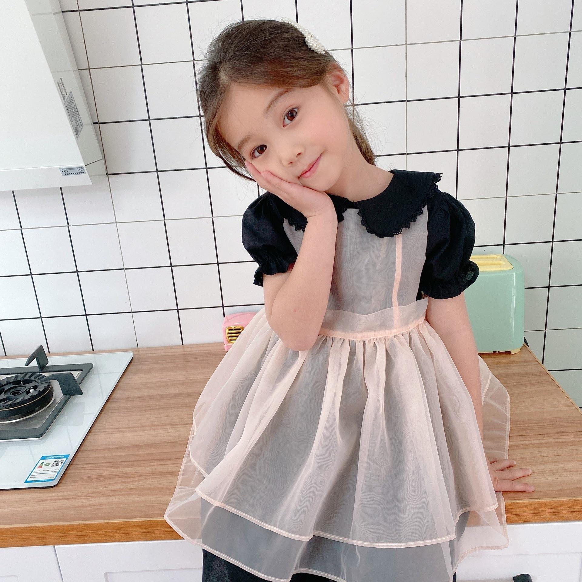 2020 Summer New Children Girls Two-Piece Set  Short Sleeved Toddler Girl Princess Organza Dress for Party/birthdays Kids Clothes