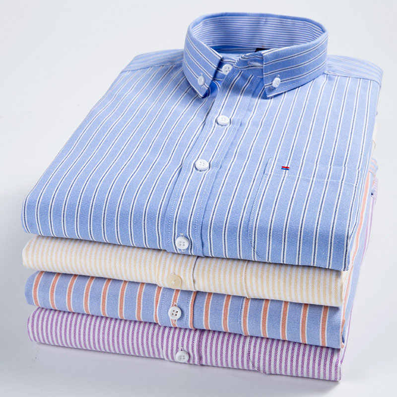 Long Sleeved Fashion Men's Oxford Dress Shirt Button-down Neck Stripe Plain Business Slim Fit High Quality Men Casual Shirt