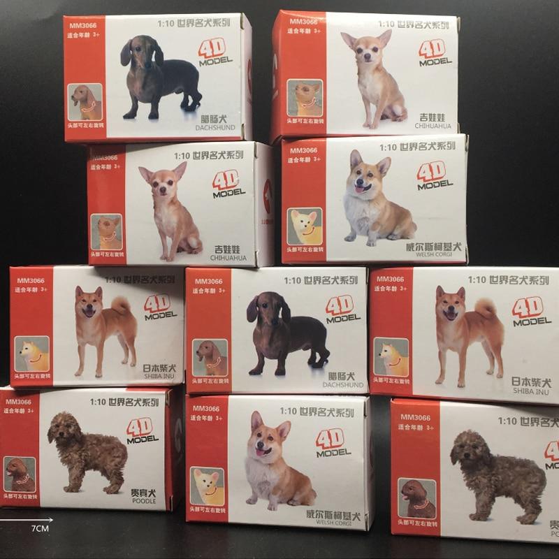 10pcs/set 1:10 4D World Famous Dog Model Toys Simulation Animal Model Cute Pet  Corgi Poodle For Sad Table Action Figure