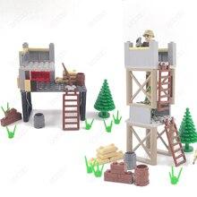 Guard Tower serie scena militare Building Block compatibile Mini soldato figura esercito Playmobil modello mattone per bambini giocattolo per bambini
