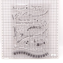 Clear Stamps Music-Note Seals Card-Making Transparent Silicone Piano for DIY Photo-Album