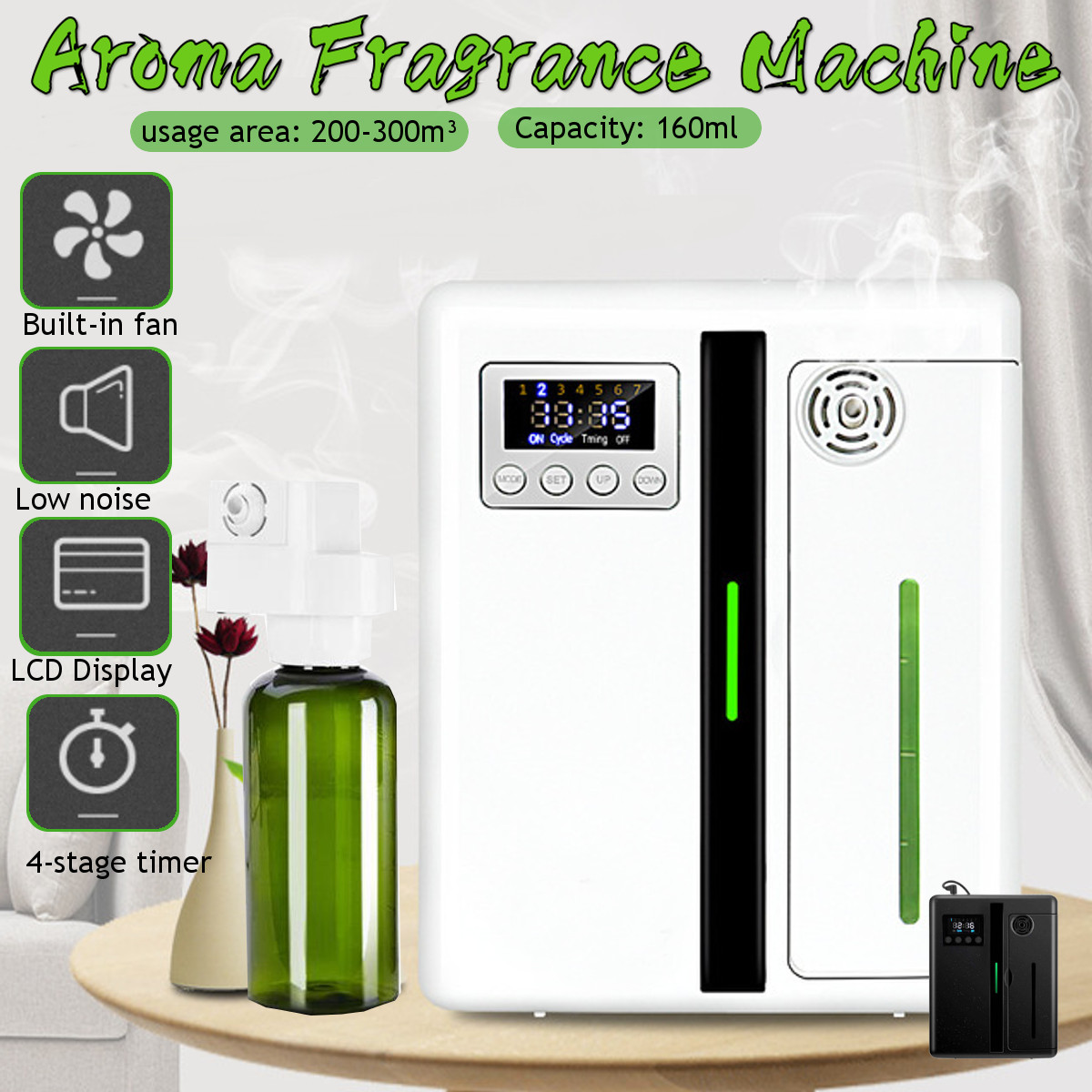 2 Colors Intelligent Aroma Fragrance Machine 160ml Timer Function Scent Unit Essential Oil Aroma Diffuser For Home Hotel Office