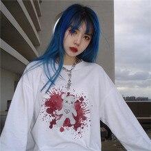 Harajuku T-shirt Women Blooy Bear Printed Long Sleeve O-neck Loose Top Tees Dark Streetwear Gothic Fashion Casual Unisex