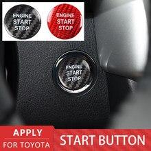 Car Sticker Car Engine Start Stop Button Cover Sticker For Toyota Highlander Avalon Corolla Alphard RAV4 Camry Carbon Fiber Trim