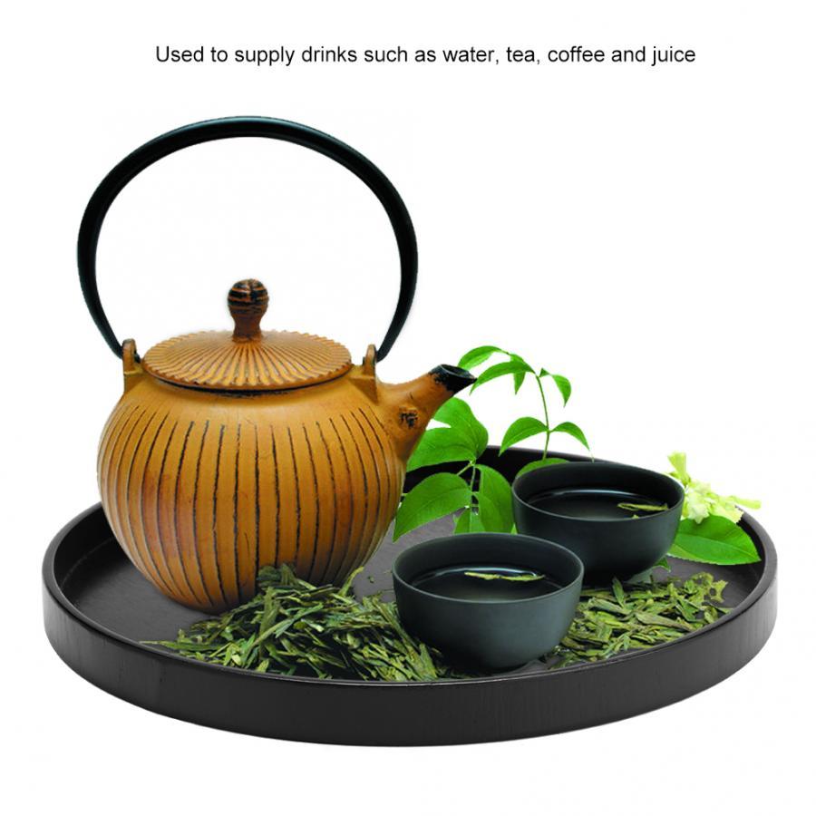 Деревянный круглый черный нескользящий поднос для чая, сервировочный столик для еды, поднос для китайского чая для дома, кухни, офиса-1