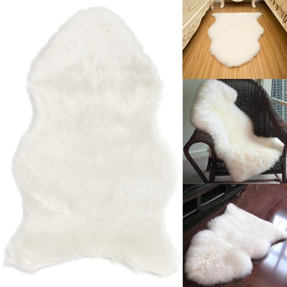 Wool Imitation Sheepskin Rugs Faux Fur Non Slip Bedroom Shaggy Carpet Mats