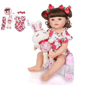 KEIUMI Lovely 55 cm Silicone Full Body Reborn Baby Doll Toy For Girl Princess Babies Toy Wear Rose Romper Children Birthday Gift
