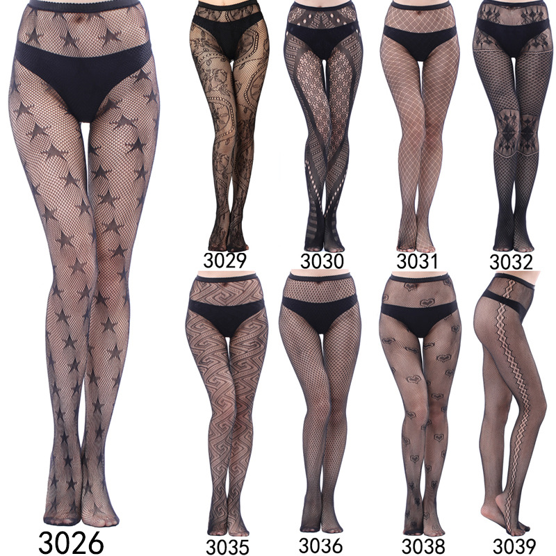 Women Leopard Hosiery Fishnet Lingerie Tights Black Nylon Seamless Tatoo Pantyhose Collant Plus Size Hose Fish Nets  For Letter