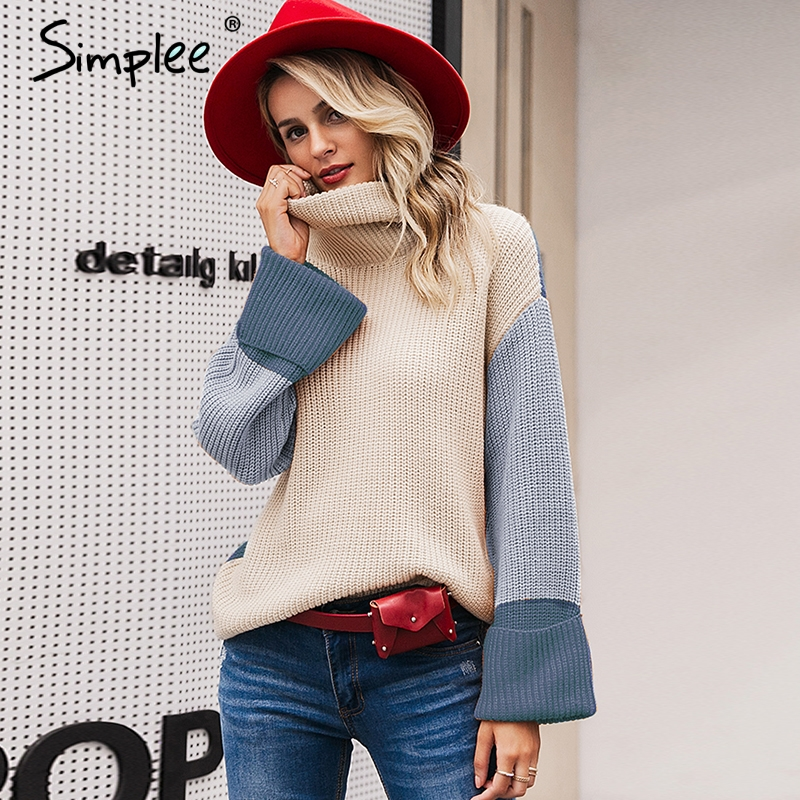 Simplee Patchwork turtleneck knitted sweaters female Casual long sleeve korean pullover jumper Women streetwear ladies sweater 11
