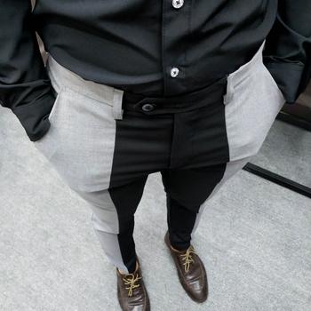 Moda kontrastujące scięgi Slim Fit Pant mężczyźni dopasowany przylegający garnitur spodnie spodnie dla człowieka Smart Office Pantalones spodnie męskie formalne spodnie tanie i dobre opinie NSTOPOS CN (pochodzenie) COTTON POLIESTER Cztery pory roku Na co dzień BIZNESOWY L5604 Mieszkanie na zamek błyskawiczny