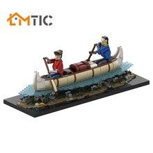 BuildMOC Voyageurs Automaton-Canoë 시뮬레이션 보트 빌딩 블록 Diy 2032pcs 장난감 벽돌 Educational Xmas Gift Kids