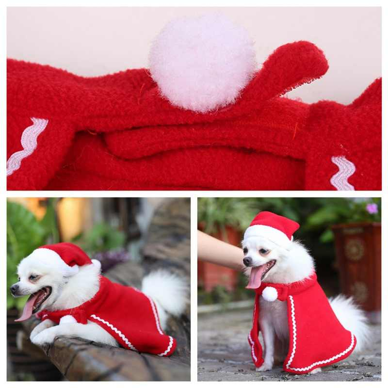 Christmas Cat Puppy Santa Hat Cloak Pet Cosplay Costume Xmas Kitten Puppy Red Caps Clothing Clothes Funny Party Mantle Dress Up