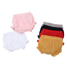 Summer Baby Ruffle Cotton Linen Bread Shorts Panties Solid Color Infant Boys Girls Kids PP Pants Bottoms