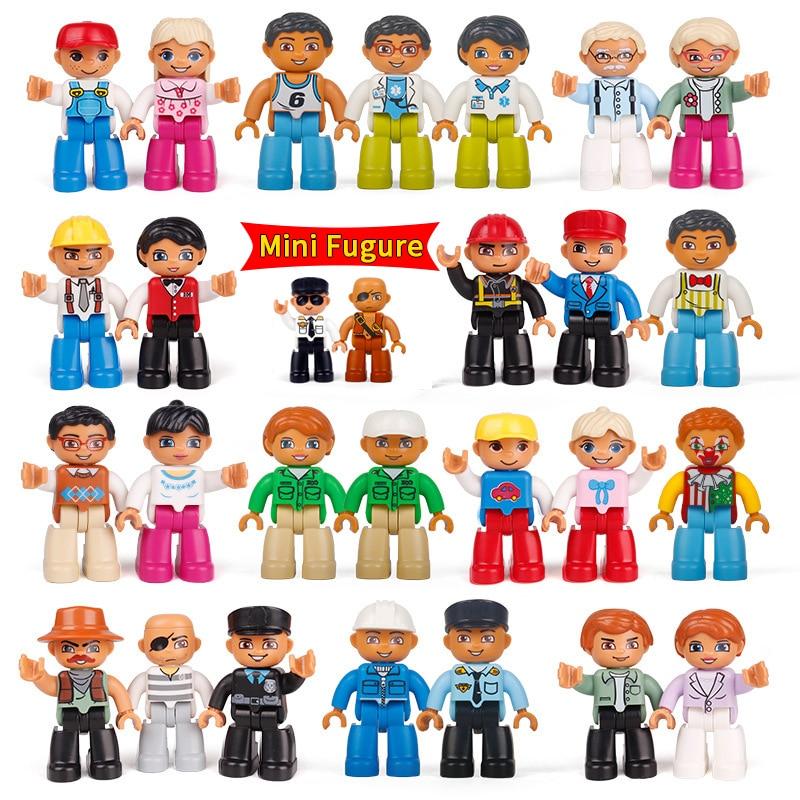 DIY экшн мини-фигурки кирпичи различные личные куклы рабочий семейный врач полиция пират большой размер строительные блоки игрушки