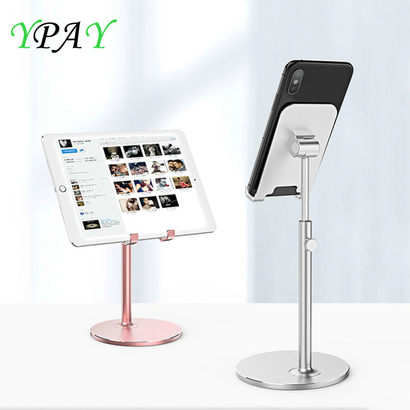 YPAY Aluminum Alloy Tablet Holder Stand For iPhone X iPad Air Sansung Mobile Phone Adjustable phone Desktop Mount For iPad Pro