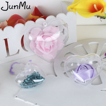 100Pcs/Lot Clear Candy Ball Box Plastic Heart Ornament Gift for Christmas Wedding Party Decor 3 Size Choose Best Price