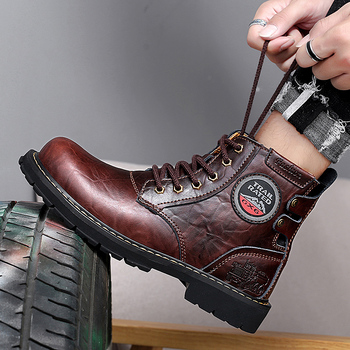 Autumn/Winter Working Boots For Men Black High Top Men Casual Shoes Brand Fashion Motorcycle Boots Genuine Leather Men Boots mycolen brand quality genuine leather winter boots comfortable black men shoes men casual handmade round toe zip wear boots