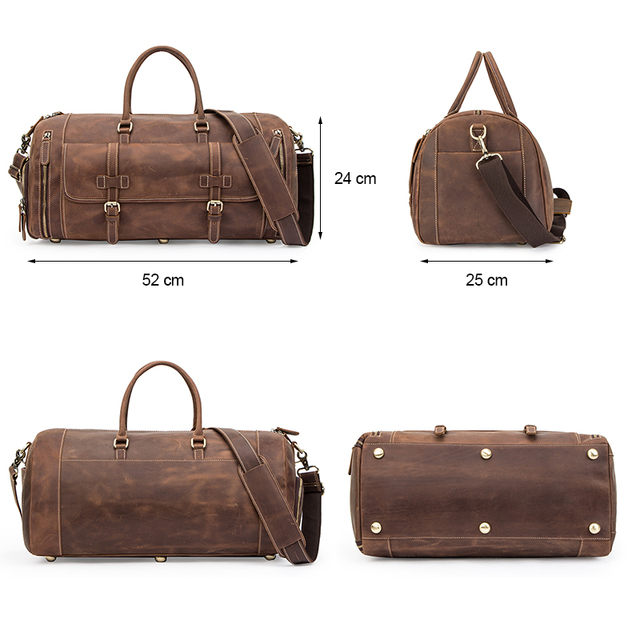 CONTACT'S Travel Men Handbags Crazy Horse Leather Duffle Luggage Bag Large Capacity Vintage Suitcase Tote Bag Male Shouder Bags 3