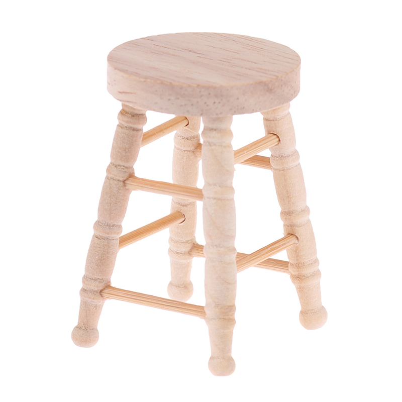 Mini Wooden Stool Simulation Chair Furniture Model Toys 1/12 Dollhouse Miniature Accessories For Doll House Decoration