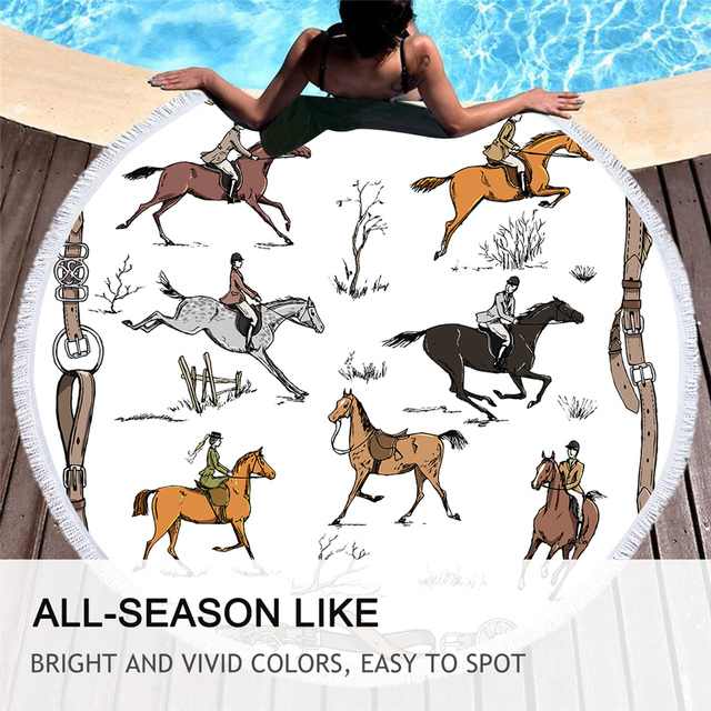 BeddingOutlet Animals Round Beach Towel Equestrian Microfiber Towel England Tradition Horse Riding Picnic Mat Sports Tapestry 5
