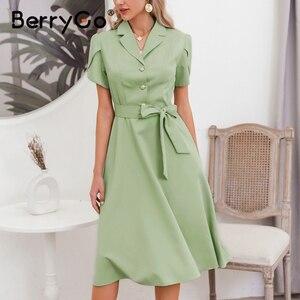 Image 2 - BerryGo Elegant ruffle green dress women High waist belt OL midi dress female vestidos Casual short sleeve office dress ladies