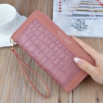 2020 new wallet female long zipper mobile phone bag fashion stitching large-capacity clutch bag coin purse