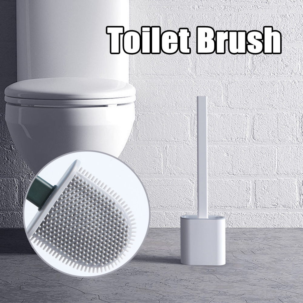 Silicone Toilet Brush Flat Soft Soft Bristles With Quick-drying Holder Set Cleaning Brushs For WC Home Bathroom Accessories 1pcs