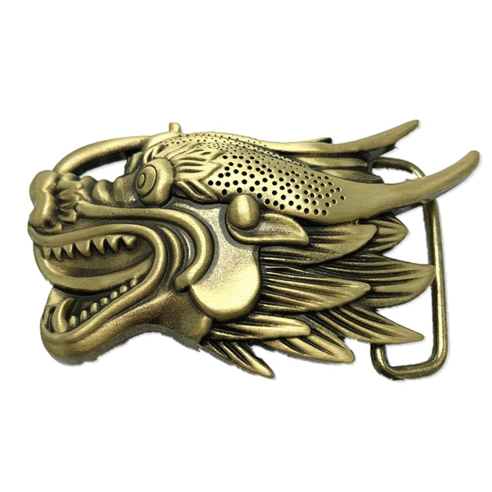 Chinese Dragon Head Pure Brass Copper Big Belt Buckle Western Cowboy Vintage Antique
