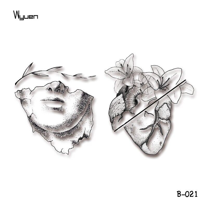 Wyuen Original Flower Heart Fake Tattoos Leaf Sculpture Temporary Tattoo Stickers For Adults Body Art Waterproof Tatoo B-021