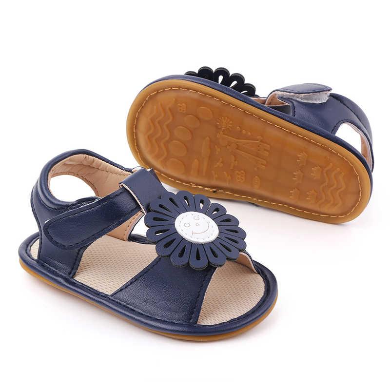 Zomer Nieuwe Leuke Grote Bloem Baby Meisje Sandalen Zachte Pu Lederen Anti Slip Rubberen Zool Kindje Sandalen Prinses Peuter Meisjes schoenen