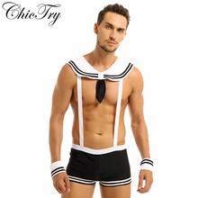 Męskie męskie seksowne kostium marynarza kombinezony Cosplay bielizna zestaw szelki bokserki z kołnierzem mankiety Halloween kostiumy do odgrywania ról tanie tanio ChicTry Zestawy Spodnie Film i TELEWIZJA Other Poliester 1Pc Suspenders Boxer Briefs 1Pc Collar 1Pc Cuffs