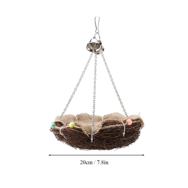 Parrot Hanging Rest Nest Basket Cage Birds Toy With Bell Bite Pet Cockatiel Parakeet Funny Stand Rest Perch Swing 5 3